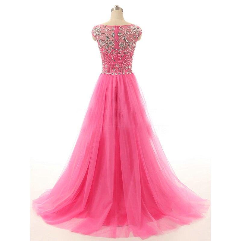 Wuzhiyi Kapmouwtjes kralen Prom dresses 2017 custom made Zachte tulle Crystal roze prom jurk vestido de formatura Nieuwe Collectie - 2