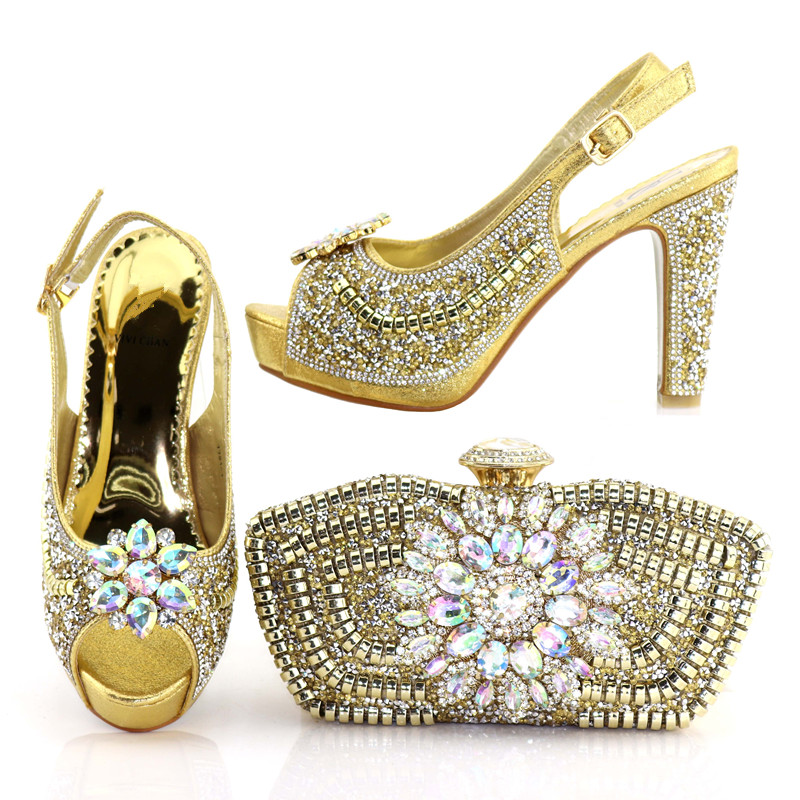 5cc3bbfdd13 New arrival shoes and bag to match women african aso ebi party rhinestones  sandal gold shoes