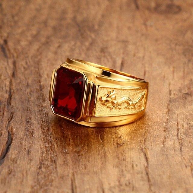 Figment degli uomini Anello con Rosso Blu CZ Pietra in Tono Oro in Acciaio Inox Inciso Drago Uomini Fedi per il Maschio Gioielli Anel