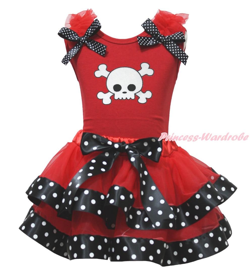 Halloween White Skull Red Top Black Polka Dots Satin Trim Skirt Girl Set NB-8Y MAPSA0812 акустика центрального канала heco elementa center 30 white satin