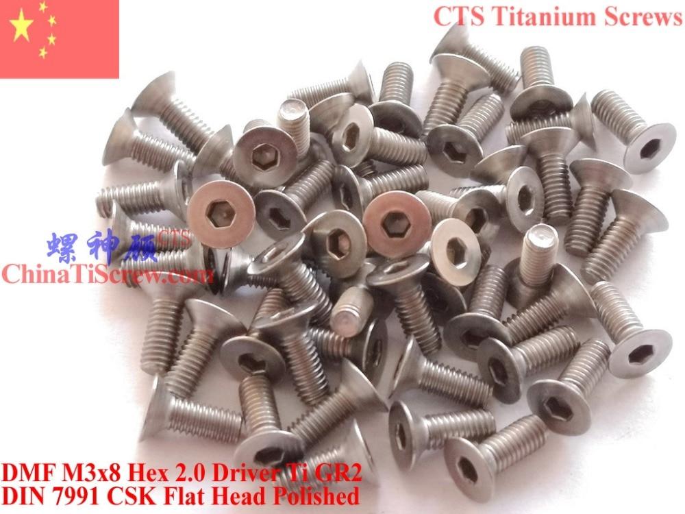 Titanium screw M3X8 DIN 7991 Flat Head Hex 2.0 Driver Ti GR2 Polished 50 pcs lodestar professional ceramic slot screw driver 0 4 x 0 9mm