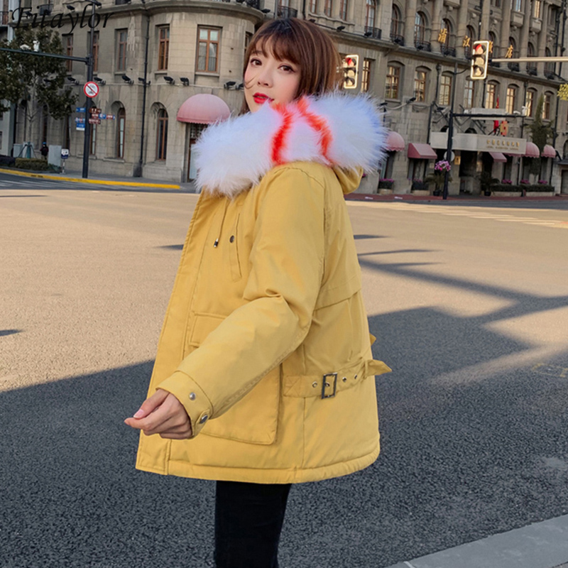 Fitaylor New Winter Loose Down Cotton Parkas Women Fur Collar Cotton Jacket Hooded Big Pocket Coat Thick Warm Snow Outerwear