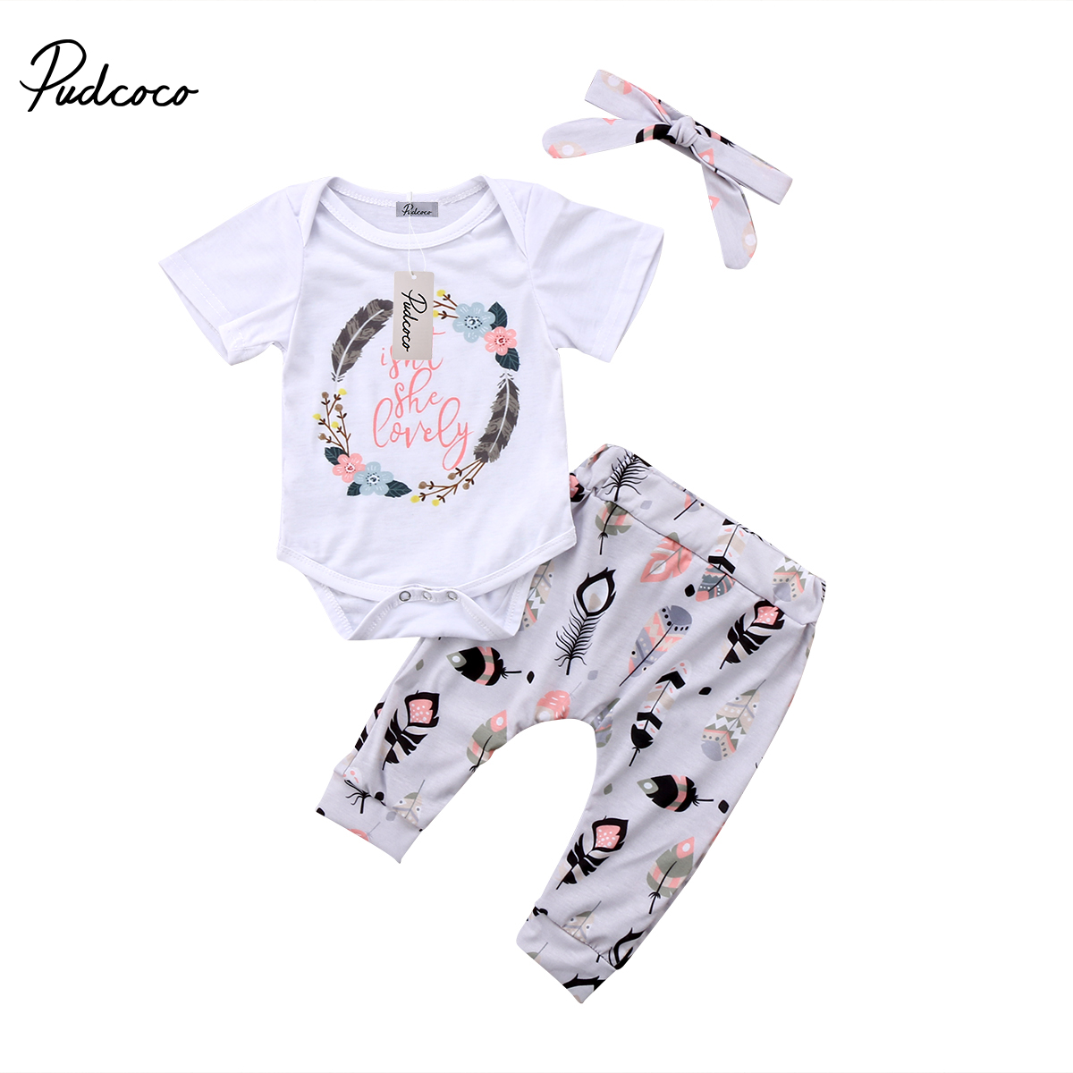 Pudcoco 3PCS Newborn Baby Girl Clothes Clothes Cotton Long Sleeve Romper Leggings Pants Headband Outfit Set 6-18Months Helen115