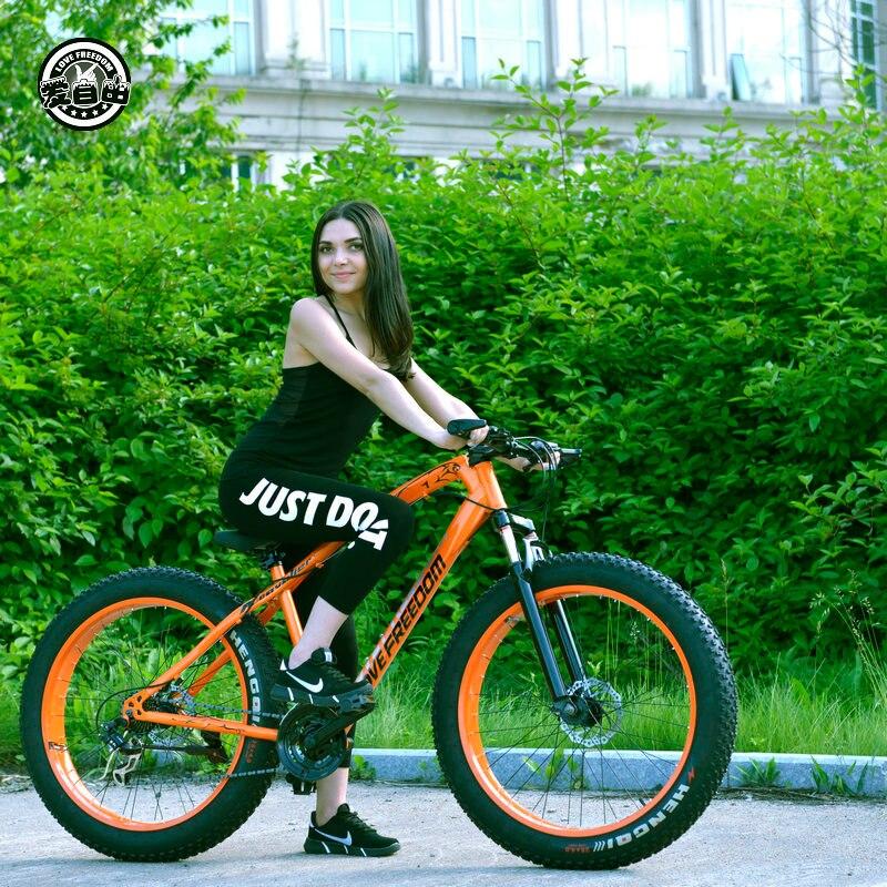 Amam A Liberdade 7/21/24/27 Velocidade Mountain Bike 26*4.0 Bicicletas de Pneus de Gordura Amortecedores Fornecimento Gratuito de bicicletas Bicicleta Da Neve