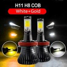 2 шт. H8 H11 двойной Цвет Авто Противотуманные фары автомобиля светодио дный лампа белый золотисто-желтый голубой лед 3000 К 6000 К автомобилей 12 В Тюнинг автомобилей