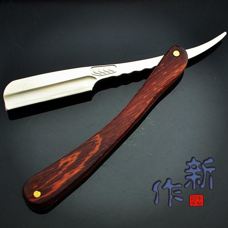 N06R Straight Edge Razor Folding Shaver Knife Barber Razor Wooden Handle Facial Hair Eyebrow Beard Shave Shaving Tool