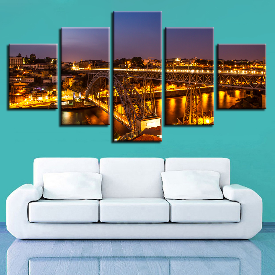Poster For Living Room Cuadros Modular Picture 5 Panel City Night View Bridge HD Print Framework Canvas Paintings Wall Art