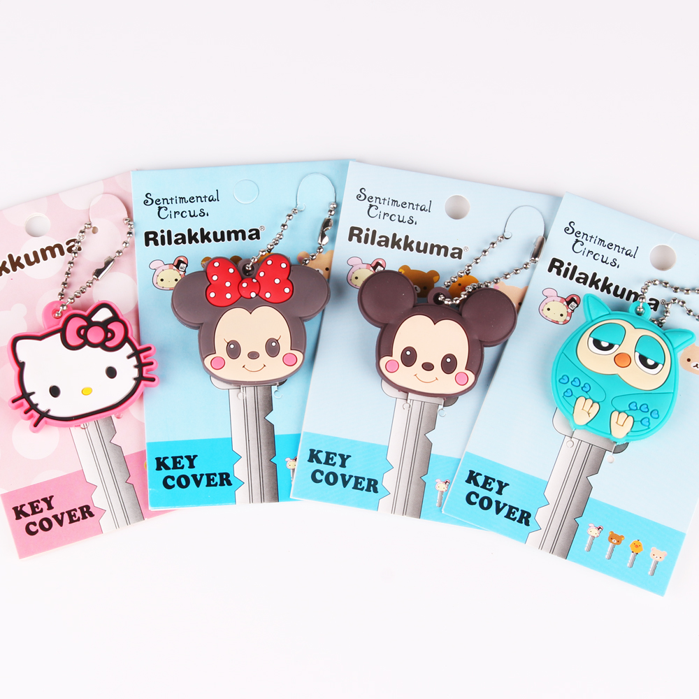 Toppkvalité Söt Cartoon Mickey Hello Kitty Key Cover Keps Silicone Owl Keychain Kvinnor Present Nyckelring Ring Porte Clef