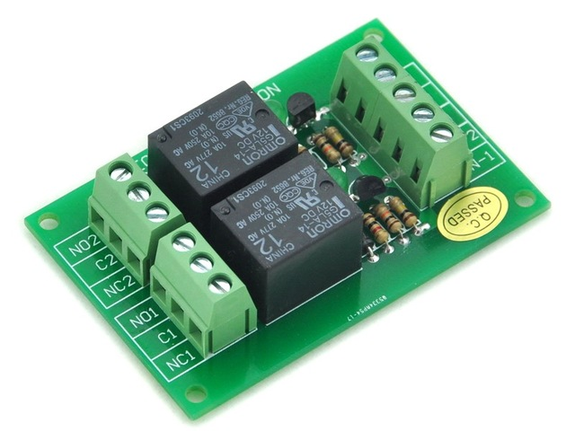 Two SPDT 10Amp Power Relay Module, DC12V Version, Omron G5LA-14 12VDC.