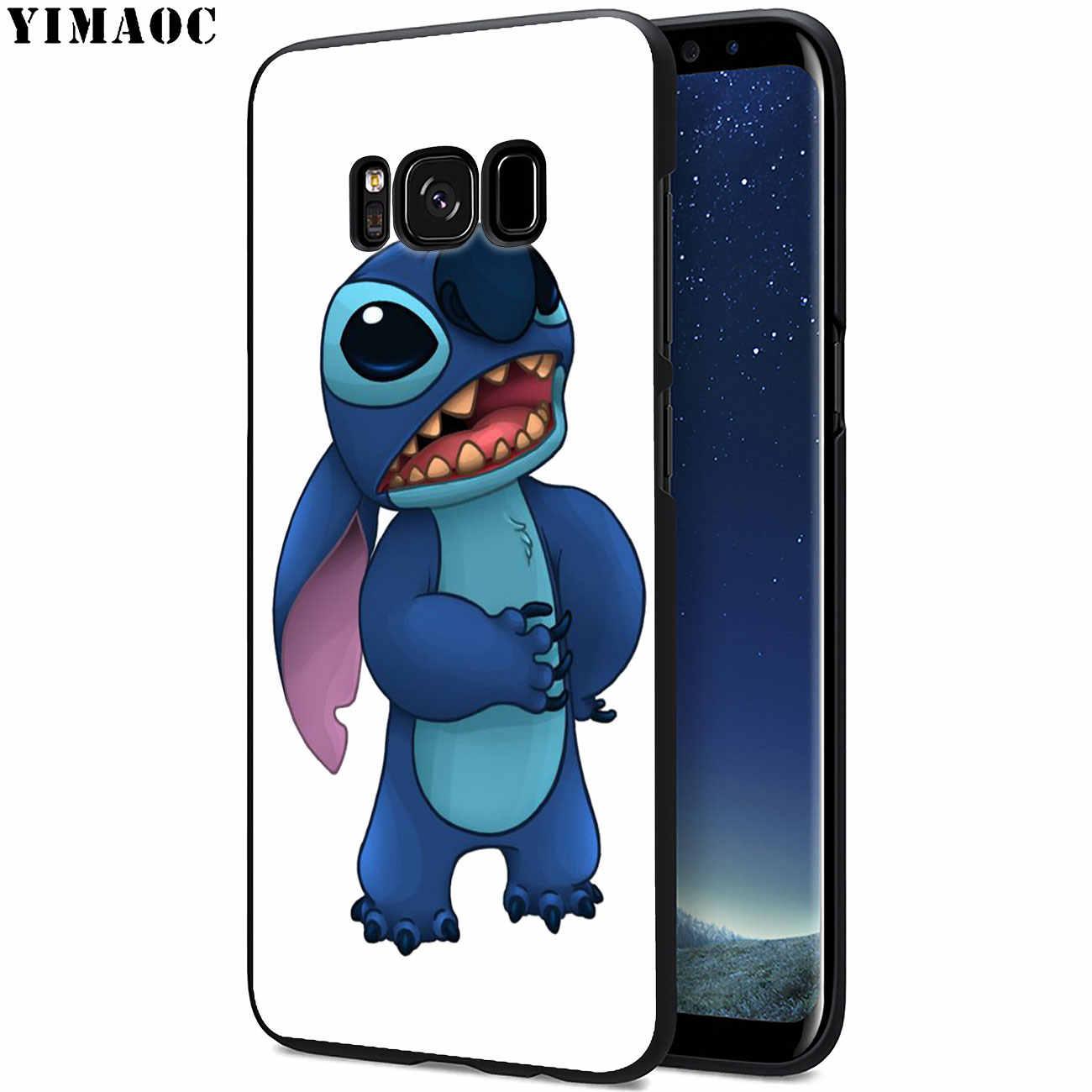 YIMAOC bonito dos desenhos animados do Ponto de Silicone Macio capa Samsung Galaxy S10 Plus S9 S8 Plus S6 S7 Borda S10e E TPU flor Capa Preta