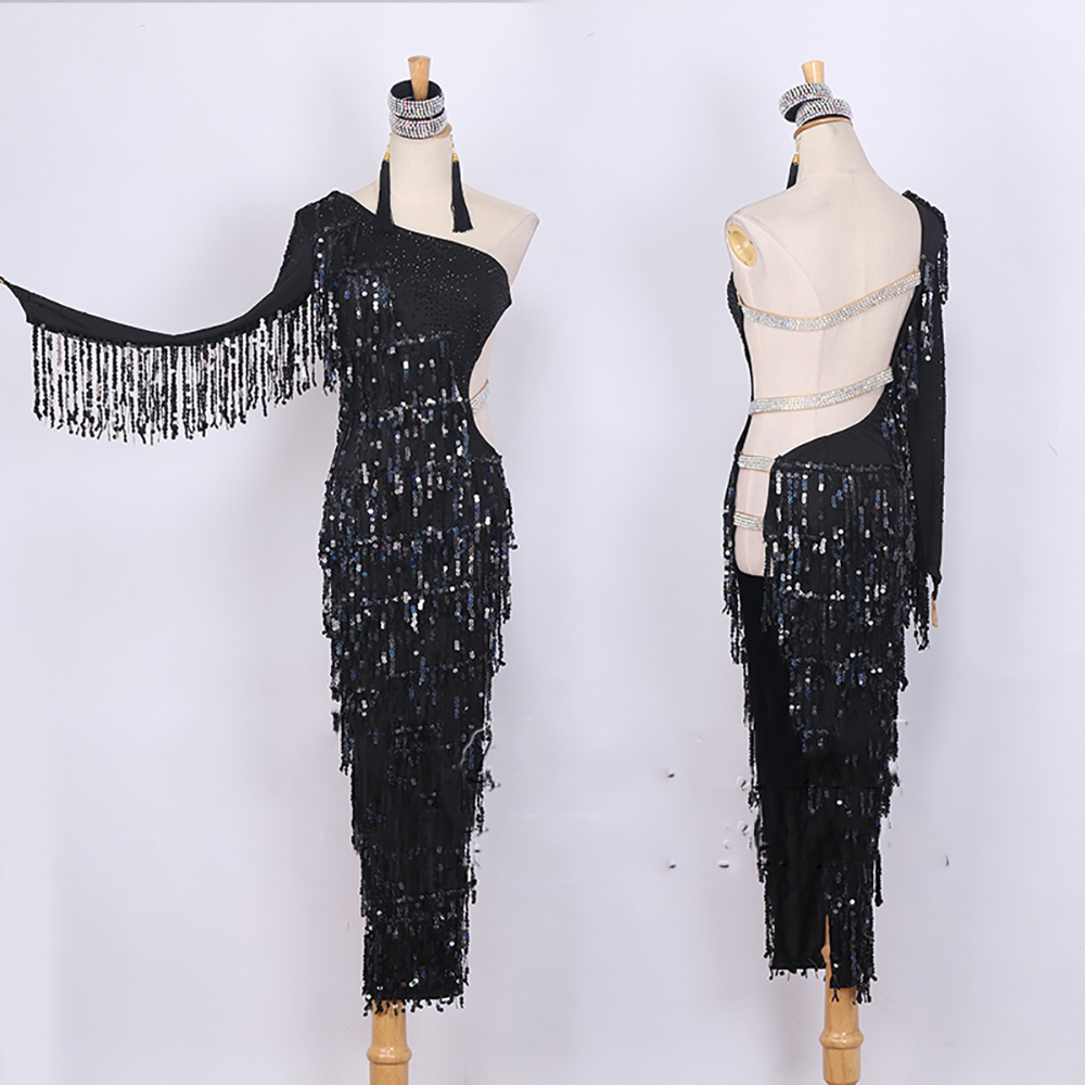 Sexy Latin Dance Dress For Ladies Dance Black Color Backless Tassel Skirt Suit Women Ballroom Cha Cha Rumba Samba Garments B108