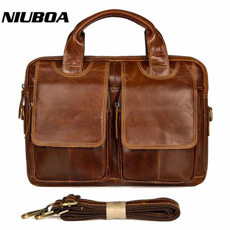 NIUBOA Handbag Men Genuine Leather Briefcases Cowhide Shoulder Bags Laptop Tote Men Crossbody Messenger Bags Laptop Designer Bag цена