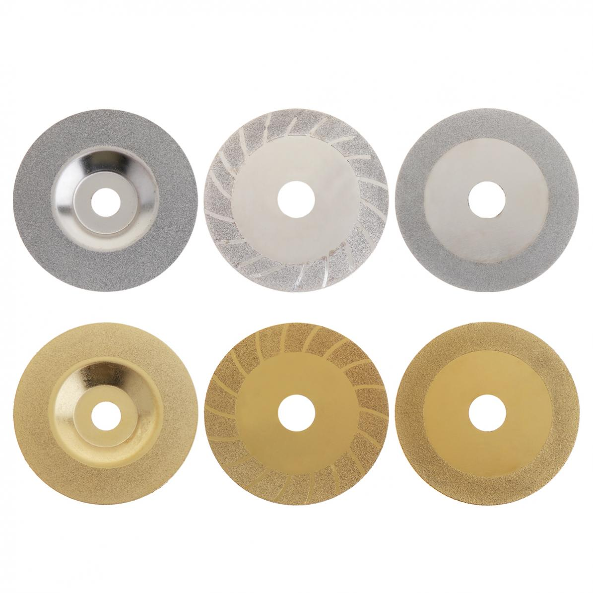 6Pc Top Quality 100mm Sliver/Gold Diamond Coated Wheel Disc Glass Stone Grinding Cutting Tools for Angle Grinder 4 inch 6 inch straight cup diamond grinding wheel for glass edger straight line double edging beveling machine m009