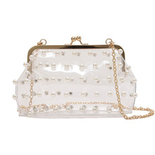 54f18b43028b Laides Clip Transparent PU Clear Clutch Summer Beach Shoulder Bag jelly Messenger  Bag Chain Handbag For Women Sac Femme