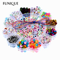 FUNIQUE Mixed Beads Kids DIY Alphabet Beads Children Intelligence Acrylic Beads Kit Box For DIY Jewelry & Pacifier Clip