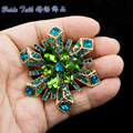Classic Snowflake Flower Pendant Brooch Pins Crystals Rhinestone Broaches Wedding Flower Bouquet Women Jewelry 6622