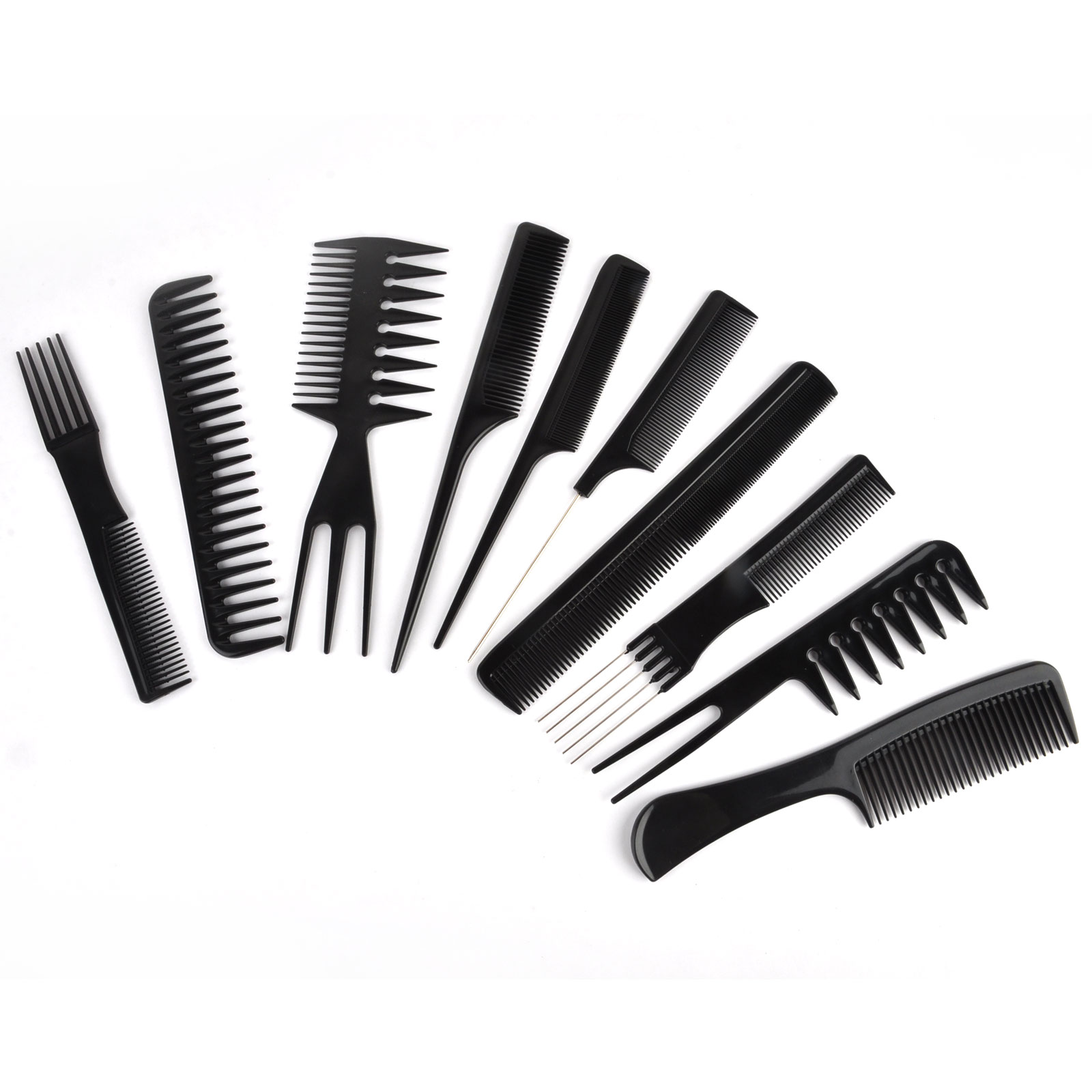 Mayitr 10in1 Professional Hairs Salon Combs Black Portable Stylist Hairdressing Comb Kit Set Barber Styling Tool