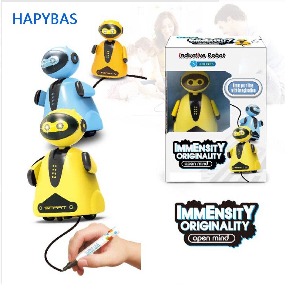 Robot eléctrico inductivo Original creativo línea de coche seguidor pluma mágica juguete sigue cualquier línea que dibujes regalos de navidad juguete educativo