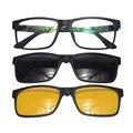 Shinu vidros ópticos quadro miopia sunglas clipes sobre óculos polarizados dia e noite óculos de condução óculos de sol três-purpose com caso sh77002