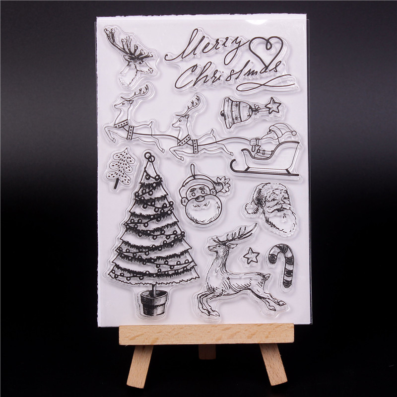 Transparent Clear Silicone Stamps for DIY Scrapbooking Card Making diy photo Roller album Decorative Christmas tree Stempel U in Stamps from Home Garden