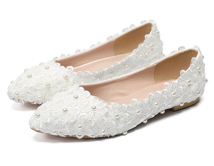 새로운 arriver 수제 레이스 진주 화이트 웨딩 신발 신부 플랫폼 럭셔리 여성 여자 파티 저녁 whire 레이스 펌프-에서하이힐부터 신발 의  그룹 1
