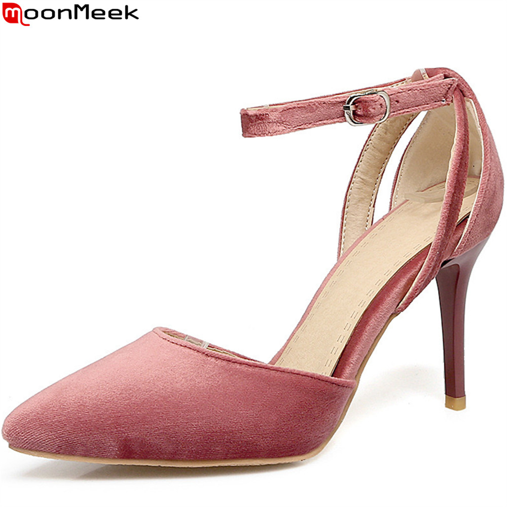 MoonMeek pink black fashion new women pumps pointed toe ladies shoes elegant buckle flock high heels shoes thin heel plus size comfy women pointed toe square high heels office shoes woman flock ladies pumps plus size 34 40 black grey high quality
