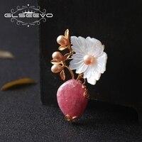 GLSEEVO натурального родохрозита контакты пресноводный жемчуг брошь перламутр цветок броши для Для женщин двойной Применение Jewelry GO0187