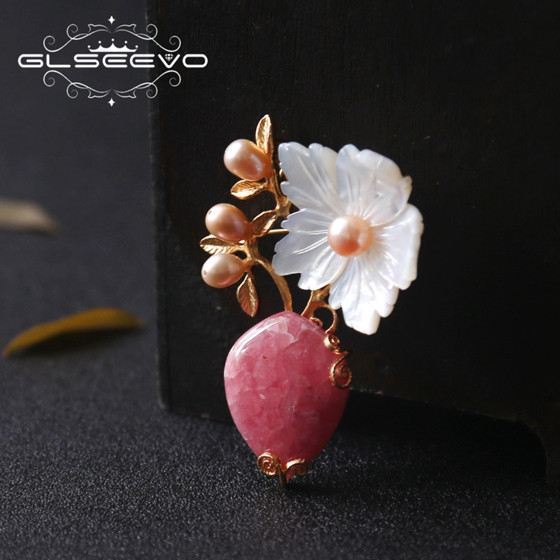 GLSEEVO Natural Rhodochrosite Fresh Water Pearl Brooch Pins Mother Of Pearl Flower Brooches For Women Dual Use Jewelry GO0187 baroque natural fresh water pearl brooch pins copper with cubic zircon maple leaf brooch pins office career fashion women jewel
