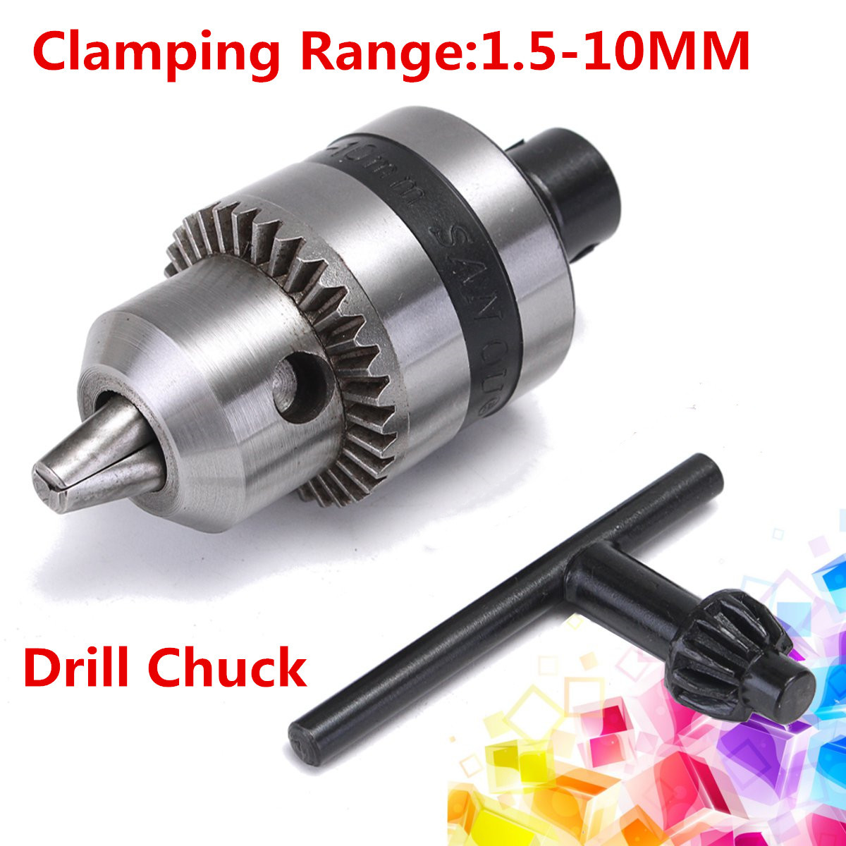 Mini Electric Drill Chuck 1.5-10mm With 12mm Steel Shaft Mount B12 Inner Hole