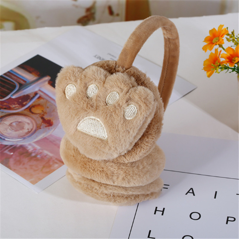 New winter cold proof and cold proof ear muff warm retractable cute stuffed paw and paw gift