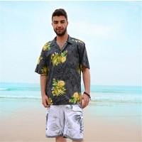 Casual Hawaiian Shirts Men Cotton Designer Brand Loose Man Shirts Short Sleeve Printed Shirts For Men Clothes Summer A946