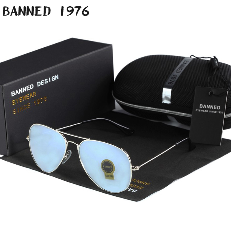 high quality BANNED G15 mirror glass lens design women men aviation Sunglasses uv400 feminin brand new oculos vintage sun Glasse image
