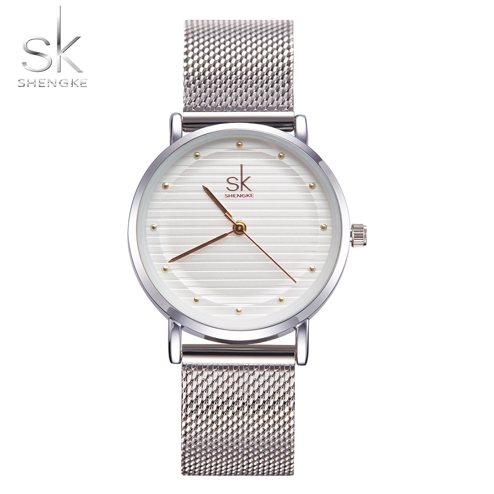 Shengke Brand Fashion Wristwatches Women Stainless Steel Band Women Dress Watches Women Quartz-Watch Relogio Feminino New SK onlyou new brand quartz lovers watches women men dress stainless steel band dress wristwatches fashion casual watch gold 1 pair