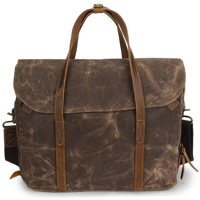 Nesitu High Quality Vintage Coffee Grey Army Green Canvas Men Briefcase Messenger Bags Business Travel Portfolio M3285