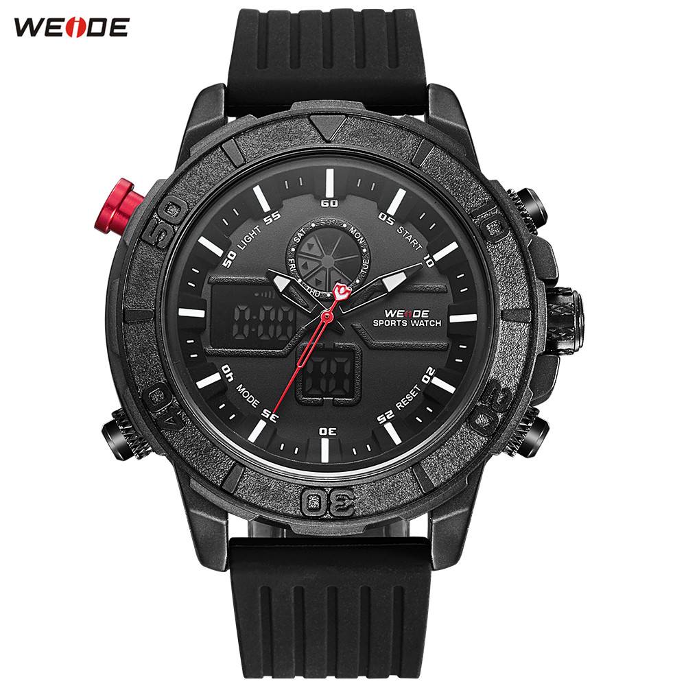 NEW Fashion WEIDE Black Dial Men Watch Alarm LED Sport Watch Men Digital Quartz Waterproof Silicone Band Wristwatch Montre Homme 2016 new price drop silicone watch women chain watch band high quality wristwatch personality digital diamonds quartz watch new