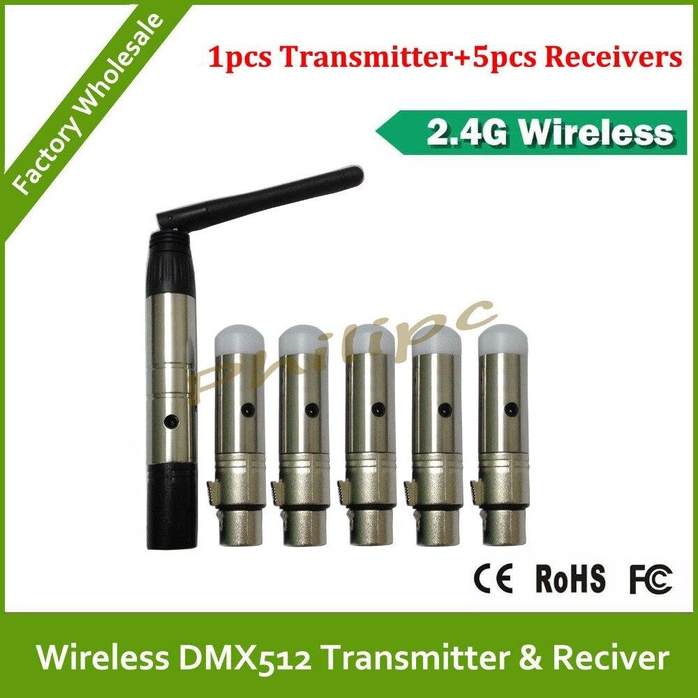 Envío libre de DHL dmx inalámbrico 2.4ghz iluminación led transmisor inalámbrico dmx receptor transmisor