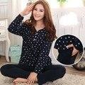 Frete grátis primavera sleepwear feminino e outono-manga longa 100% algodão plus size salão das mulheres Pijama xxxl 4x conjuntos