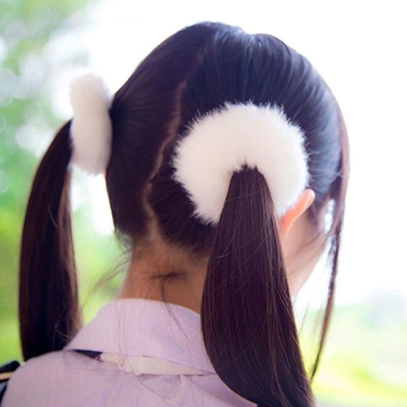 AIKELINA/Новинка; зимняя теплая мягкая резинка для волос из искусственного кроличьего меха для девочек и женщин; аксессуары для волос; Детская резинка; головной убор - Цвет: Pure White