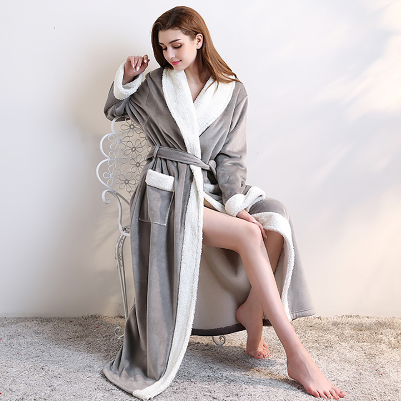 Couple Long Thick Robe Double-Deck Men Women Bath Robe Knitted Velvet Winter Warm Night Gowns Lovers Sleepwear Home Clothes Cozy
