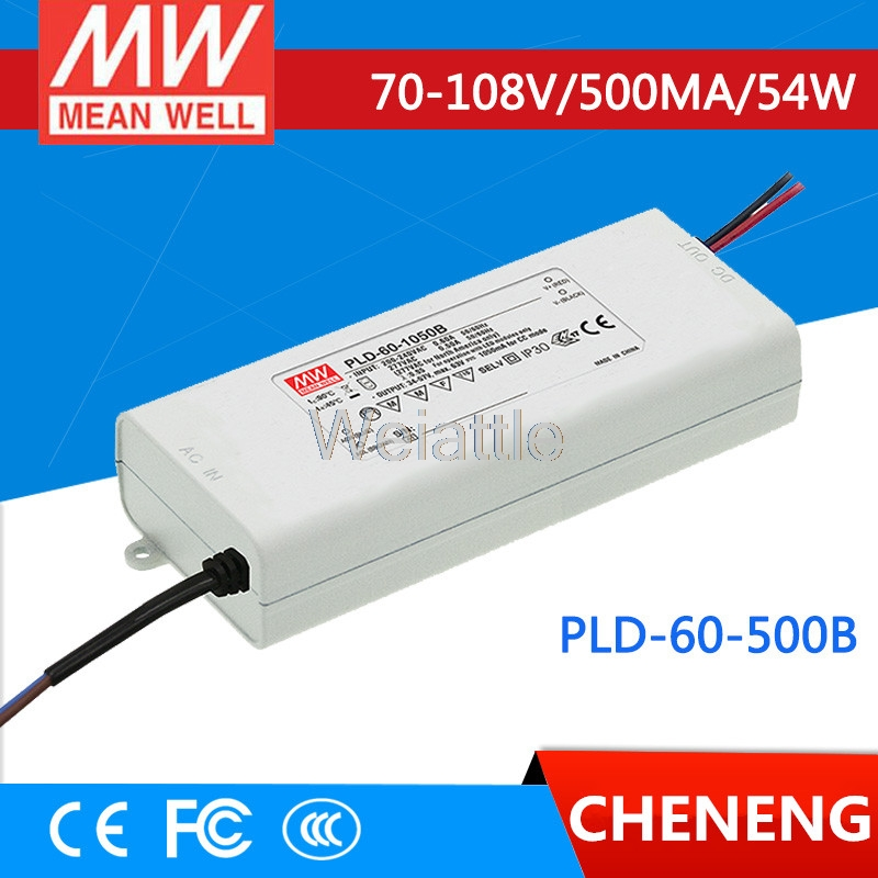 MEAN WELL original PLD-60-500B 108V 500mA meanwell PLD-60 108V 54W Single Output LED Switching Power Supply pld 1201 pld 1202 pld 1203 pld 1204 pld 1205 pld 1206 pld 2201 pld 2202 pld 2203 dc 12v dc 24v mini water small pump