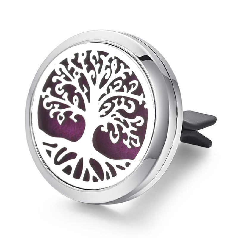 30 мм Дерево жизни из нержавеющей стали автомобильный освежитель воздуха Духи эфирные масла медальон со светорассеивателем случайный отправить 1 шт. масляные подушки в подарок 4579