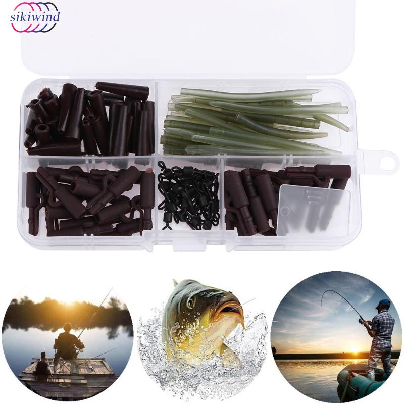 120pcs Anti Tangle Sleeves Tail Rubbers Safety Lead Clips Quick Change Swivels SetCarp Fishing Accessories Tackle with Box Hot