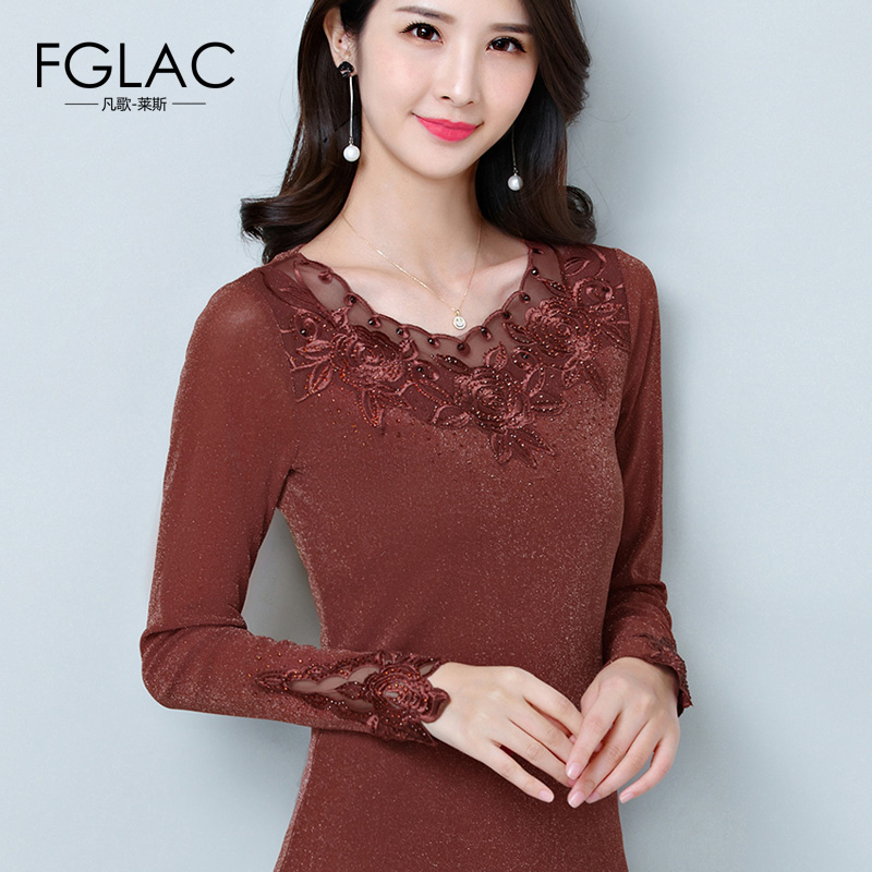 FGLAC Women   blouse     shirt   Fashion Casual Long sleeve Mesh tops Sexy Hollow out Embroidery   shirt   plus size womens tops and   blouses