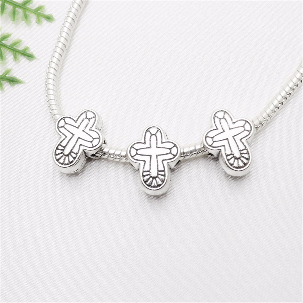 Vintage Silver Cross Beads fit Pandora Charms DIY European Bracelets for Metal Jewelry Making 42pcs/lot