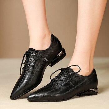 Plus size 42 women's genuine leather lace-up flats oxfords leisure female comfortable espadrilles stripe fashion casual shoes