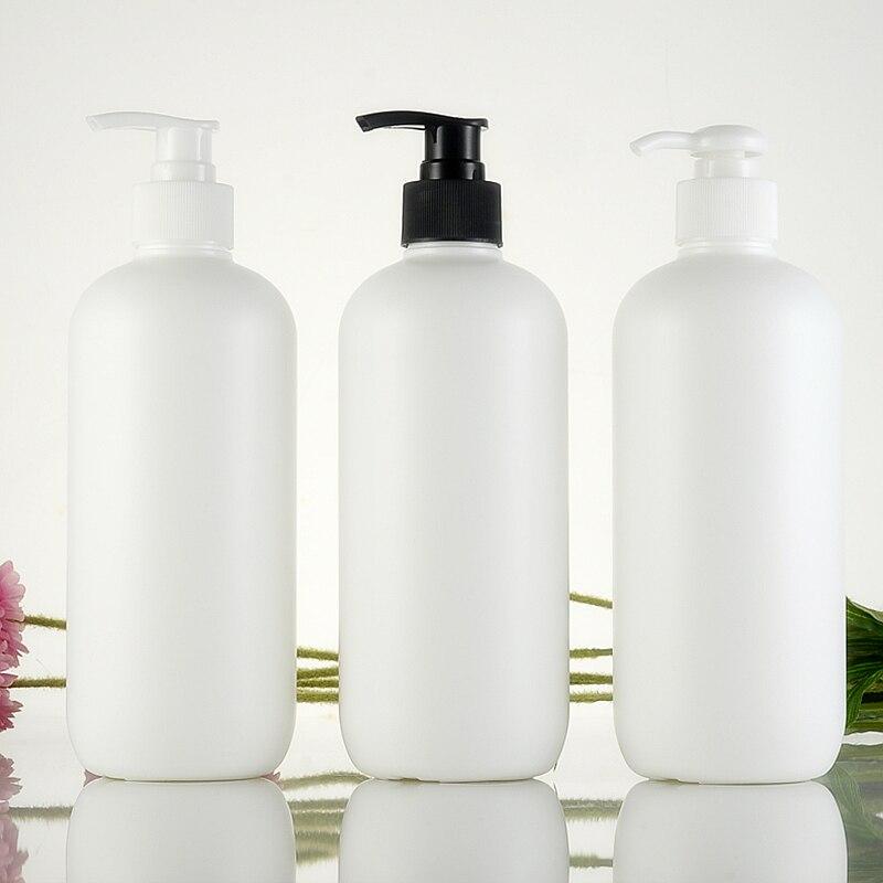 500ml Empty White Cylinder Shape Shampoo Plastic Bottles