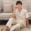 Мужская Сна и Lounge pajama наборы искусственного шелка с коротким рукавом пара pijamas любителей пижамы мужской пижамы пижамы мужские loungewear