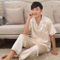 Men's Sleep & Lounge pajama sets faux silk short sleeve couple pijamas  lovers pyjamas male sleepwear nightwear mens loungewear