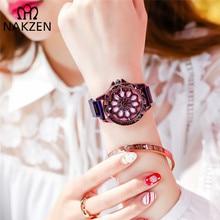 NAKZEN Women Analogue Quartz Watch Fashion Flower Diamond Waterproof Watches Rotating Diamond Dial Wristwatch Relogio Feminino guanqin women quartz watch artificial diamond dial wristwatch for women