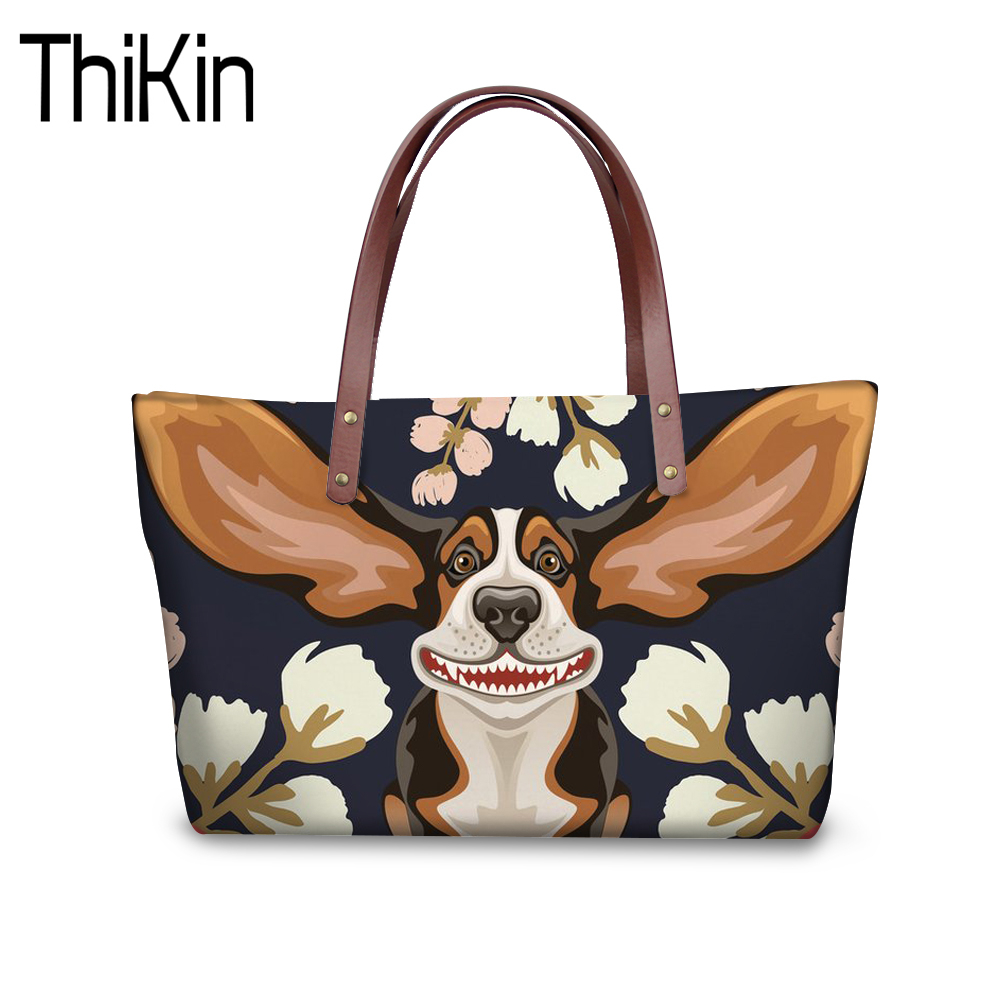 THIKIN Shoulder Bags for Women 2018 Beagle Flower Hound Famous Brands Designer Handbags Girls Beach Bags ladies Tote Shopper B